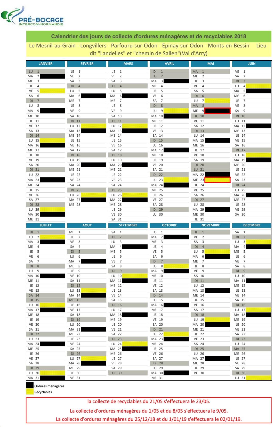 2018 calendrier collecte pour les landelles et chemin de sallen