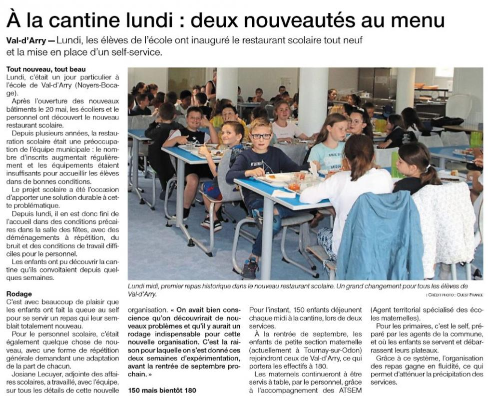 Article of 26 juin cantine
