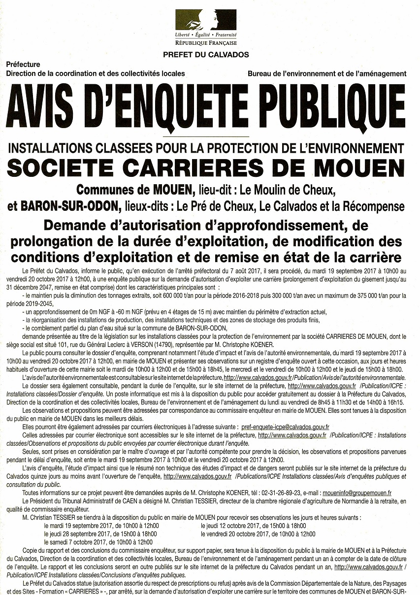 Avis enquete publique 19 septembre 20 octobre carrieres mouen