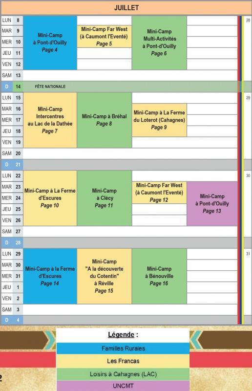 Catalogue mini camps planning