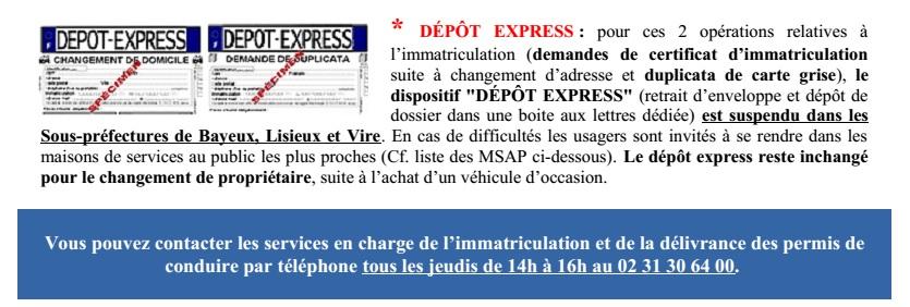 Certificat d immatriculation permis de conduire depot express