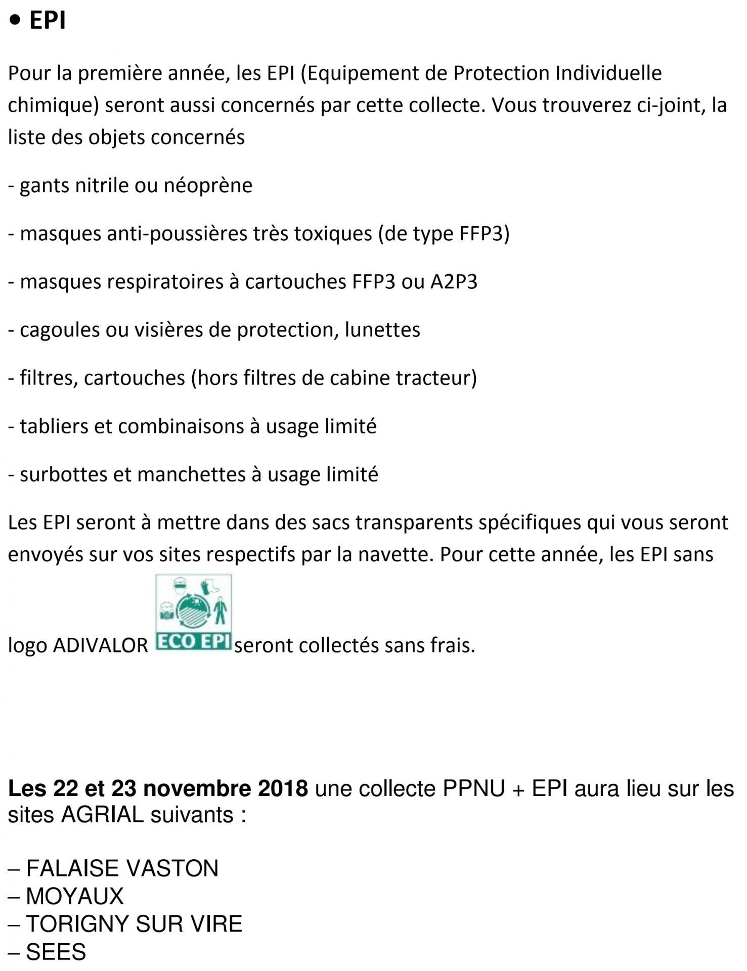 Collecte ppnu et epi p2