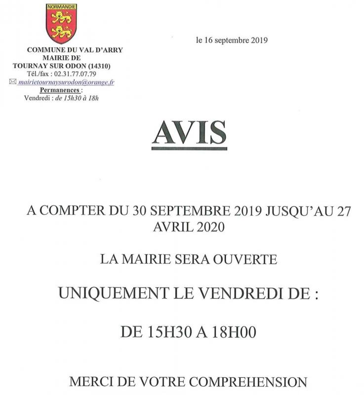 Horaire mairie tournay 30 09