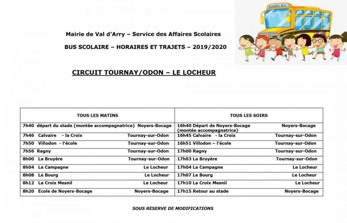Trajet bus 2019 2020 tournay locheur