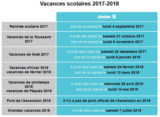 Vacances scolaires 2017 2018