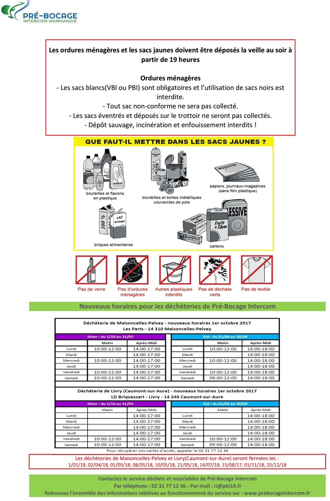 2018 regles collectes et horaires decheteries
