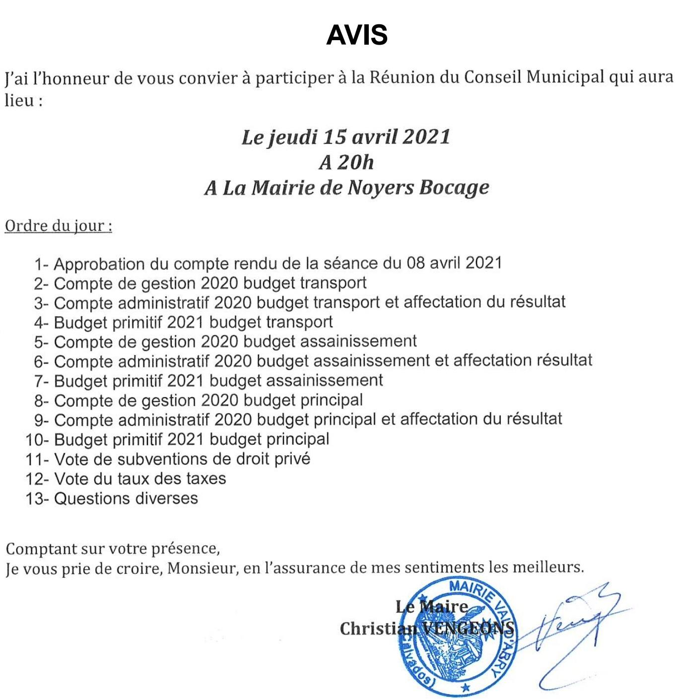 20210409avis du conseil municipal du 15 avril