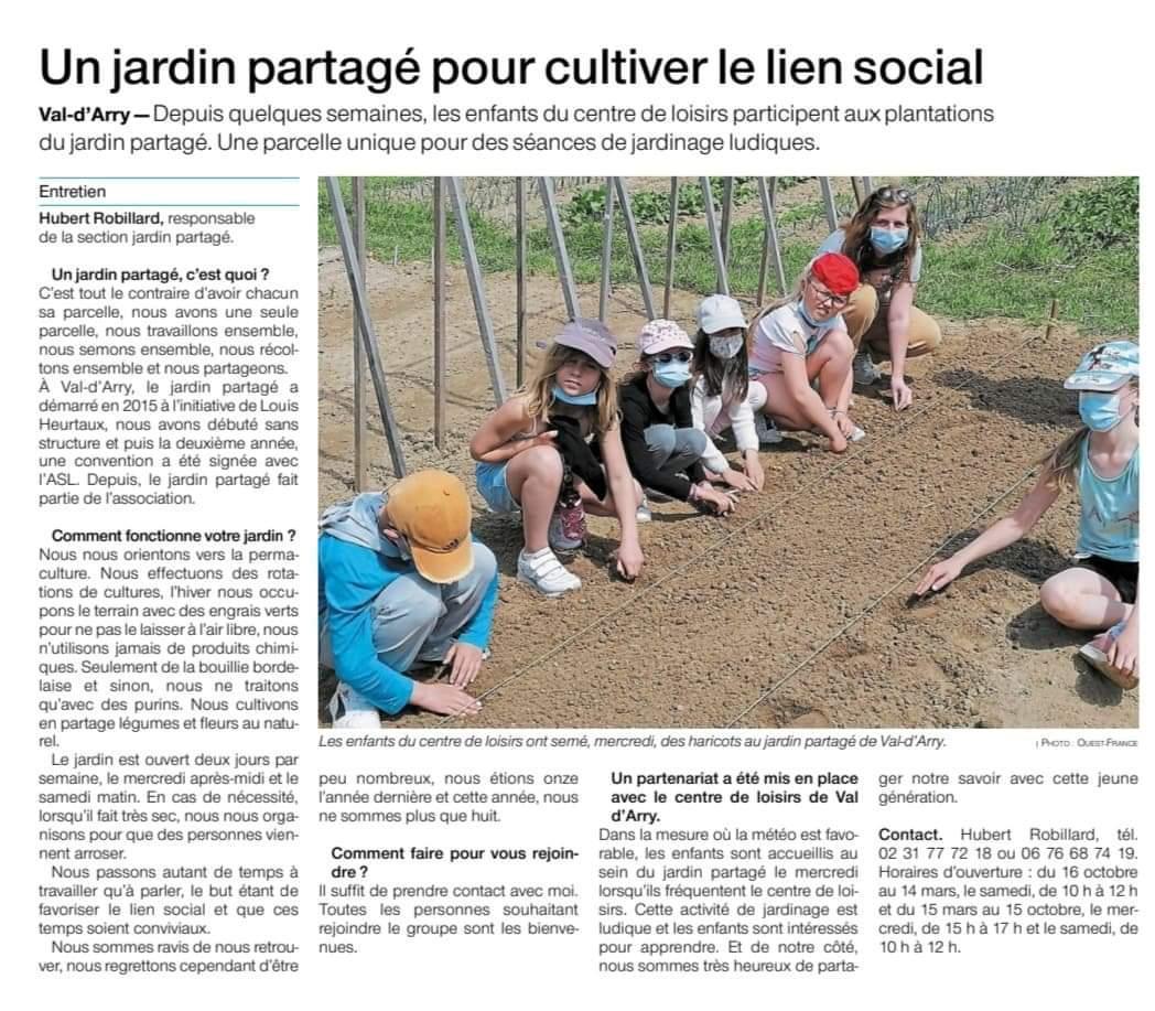 Article ouest france un jardin partage pour cultiver le lien social