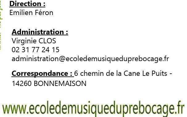 Contact 2021 2022 ecole de musique du pre bocage