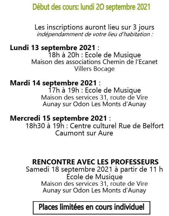Debut des cours 2021 2022 ecole de musique du pre bocage