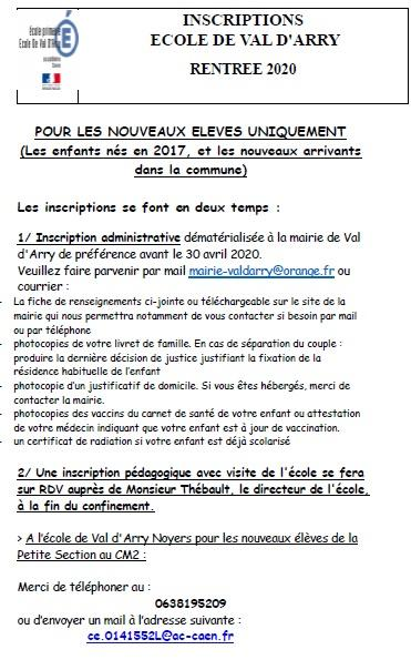 Inscriptions ecole rentree 2020