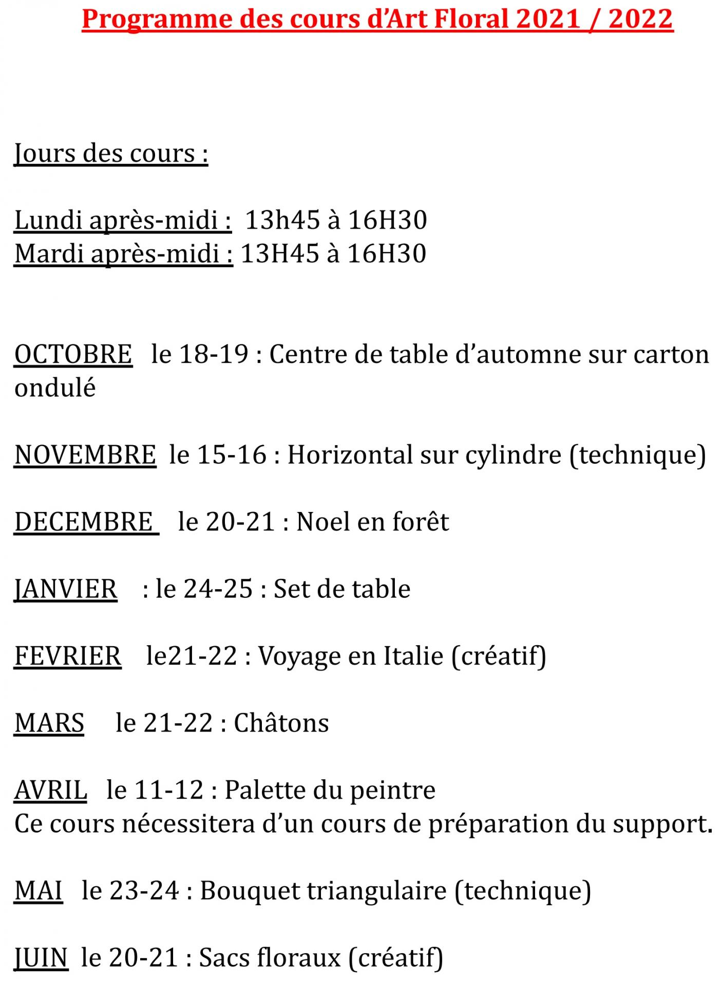 Programme cours 2021 2022