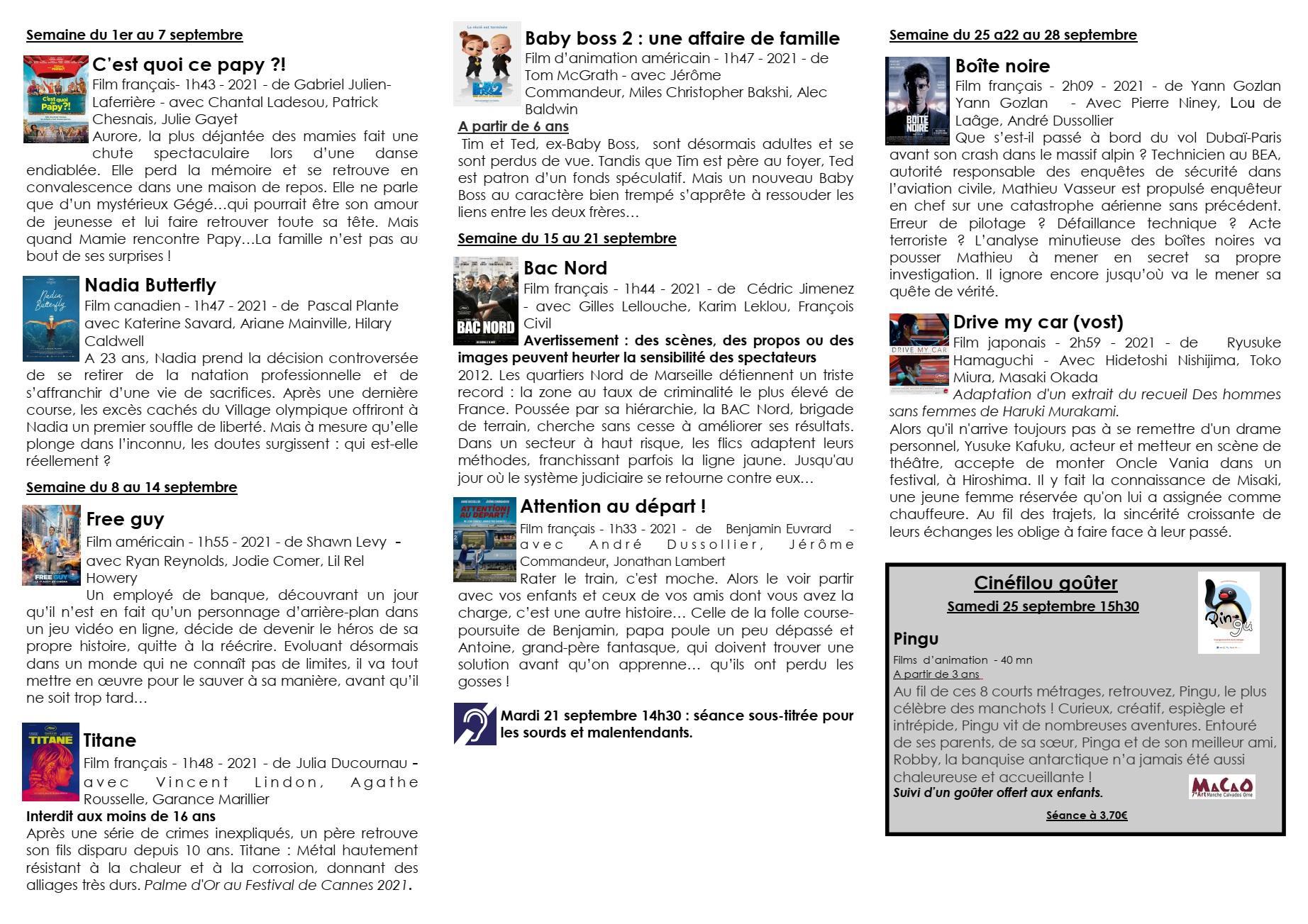 Programme septembre cinema paradiso recto